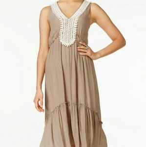 NY Collection Taupe Maxi Dress